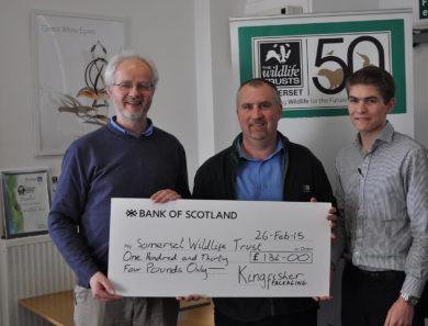Somerset Wildlife Trust Cheque for 134