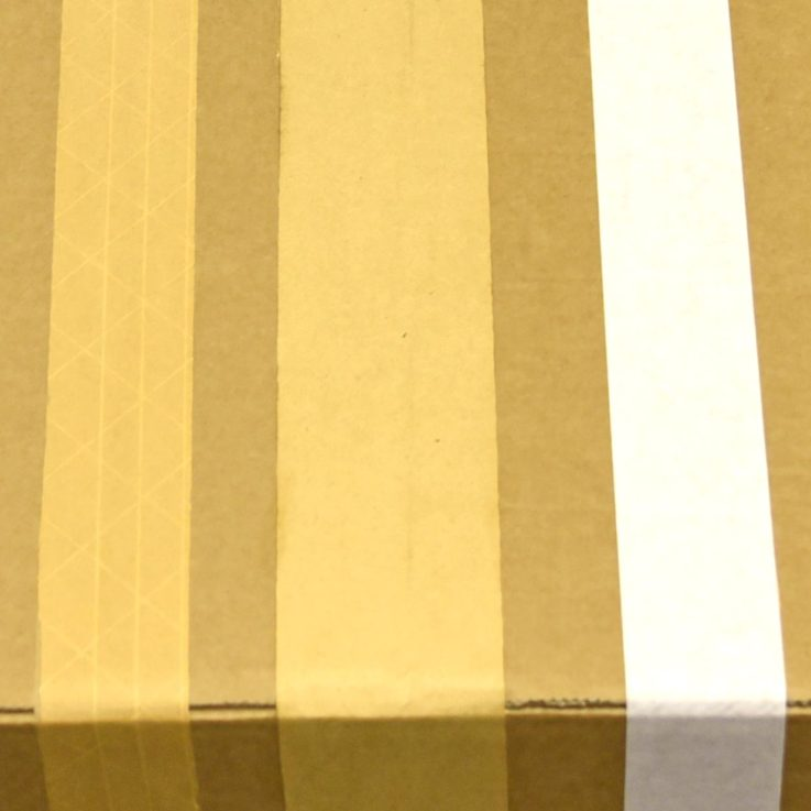 Gummed paper tape on box