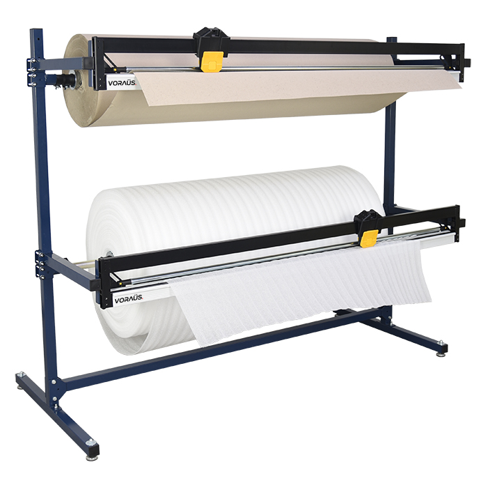 1500mm Double Roll Dispenser with 1 cutter for Cardboard & Paper + 1 cutter for Bubble, Foam & Poly