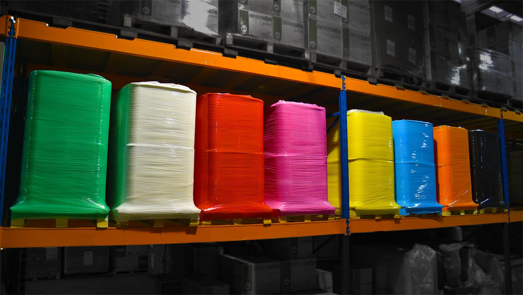 Xtreme 25 Identi-Film Coloured Pallet Wrap in Racking