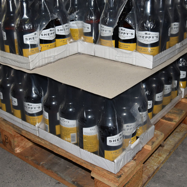 Actus Premium Protective Cardboard Layer Board on pallet with Cider Bottles