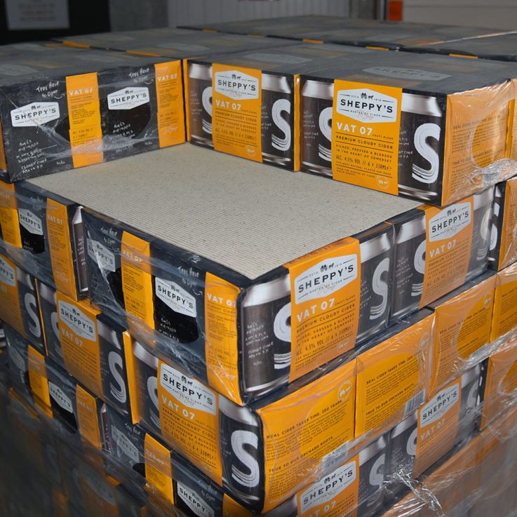 Actus Premium Protective Cardboard Layer Board on pallet with Cider boxes