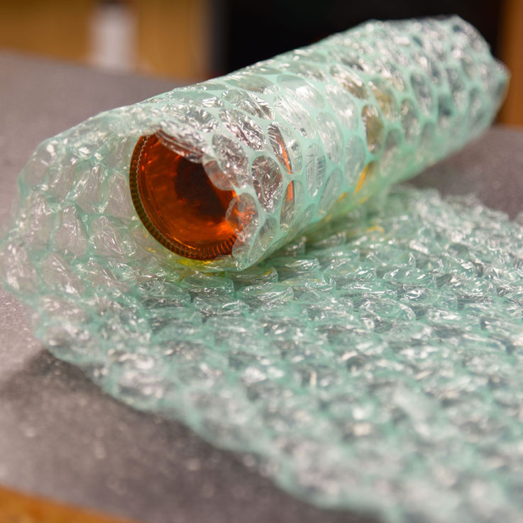 Biodegradable Bubble Wrap - 300mm Wide Large Bubble - Wrapping Glass Bottle