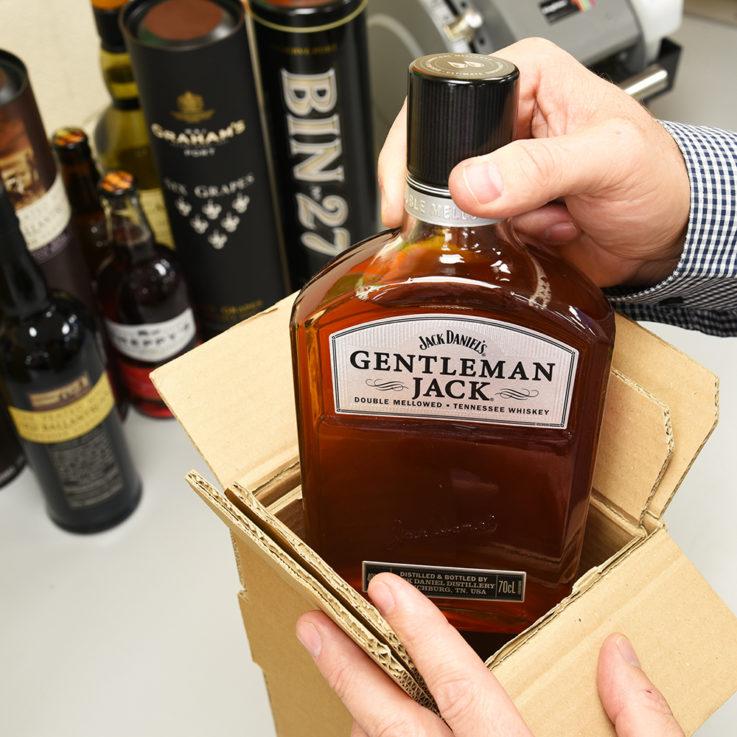 Packing Gentleman Jack in Bottle Pack