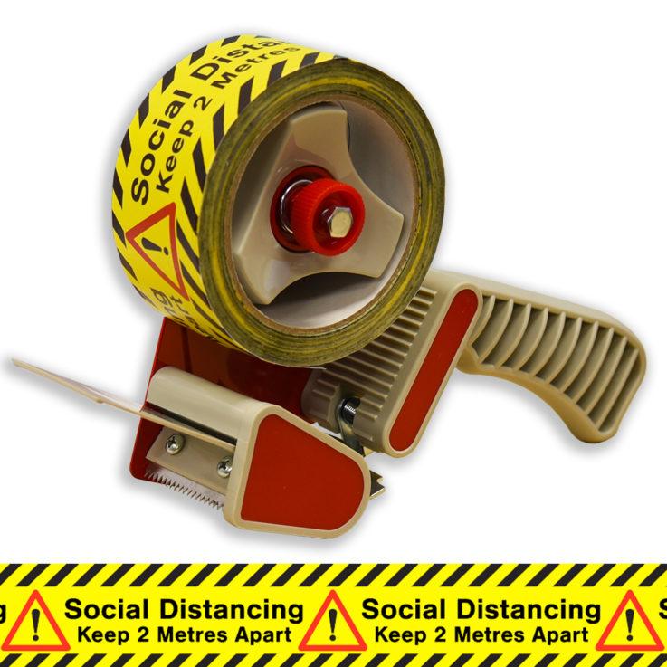 Social Distancing Printed Floor Marking Tape Roll on Application Gun