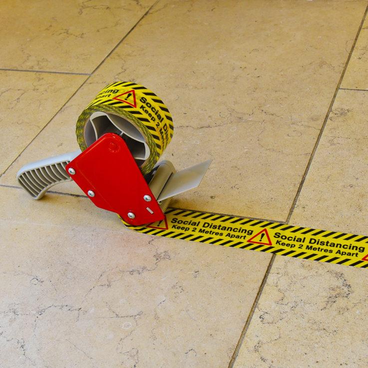 Social Distancing Printed Floor Marking Tape Roll on Application Gun - Stone Floor